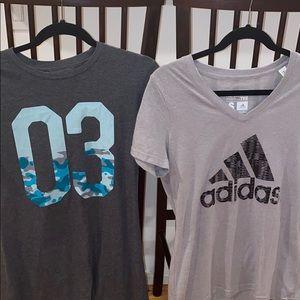 2 adidas shirts (set) 1 Med. 1.SM